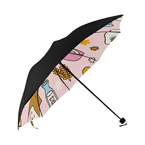 Foldable Umbrella Kids Creative Life Fashion Cute Rolling Pin Underside Printing Rain Parasol Umbrella Back Yard Umbrella Best Compact Umbrella With 95% Uv Protection For Women Men Lady Girl