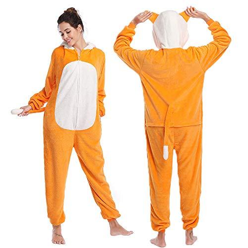 ZJXSNEH Pijama para Mujer Diseo De Animales Ropa De Casa para Dormir De Una Pieza, Disfraz De Cosplay para Fiesta Zorro Naranja
