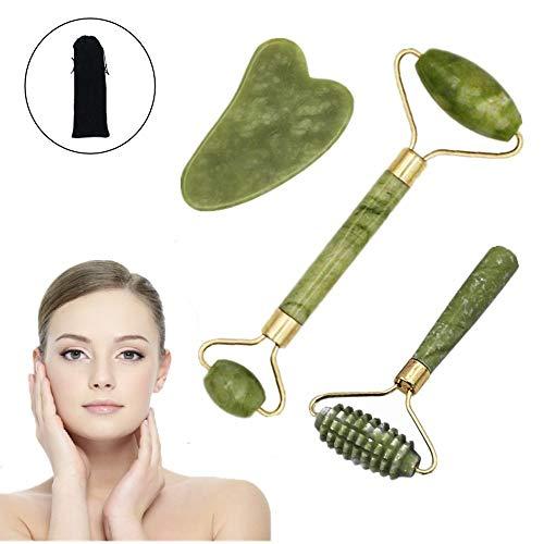 3 piezas Rodillo de Jade Facial Masaje, Anti Aging Gua Sha Facial Masajeador Cara...