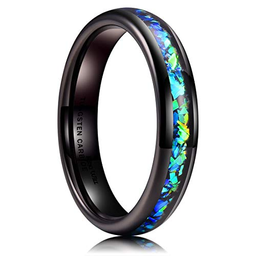 King Will Mens 4mm Black Tungsten Carbide Wedding Ring Shining Blue-Green Fragments Engagement Band 9.5