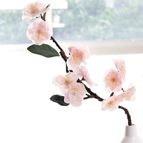 JAROWN 2 flores artificiales de alta imitación con flores de cerezo para decoración de oficina (rosa claro).