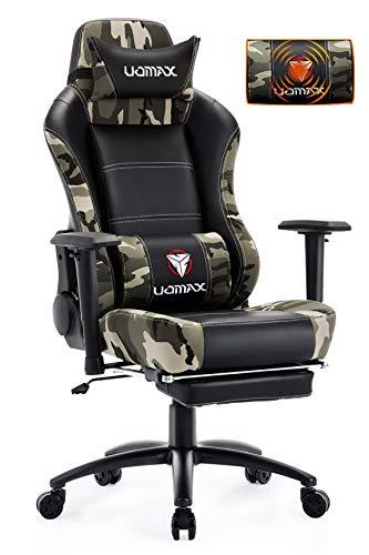 UOMAX Chaise Gaming Massage Fauteuil Gamer avec Repose Pied Siege Gamer Ergonomique Fauteuil de Bureau Gamer avec Support Lombaire (Camouflage)