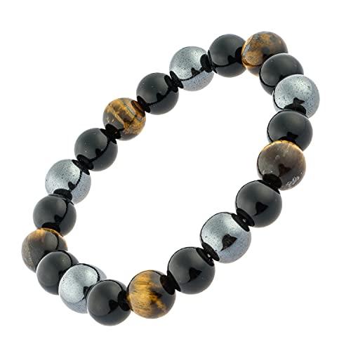 Bracelet triple protection puissant oeil de tigre, obsidienne, hématite, homme, femme, pierres naturelles, contre mauvais oeil, lithothérapie cadeau