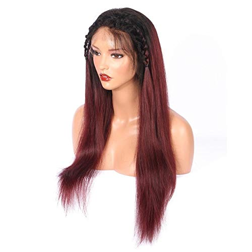 LEZDPP Color T1B / Burgundy 13 4 Lace Frontal Human Hair Wig with Baby Straight Brazilian Non-Remy Wig Hairpieces (Color : 16 inches)