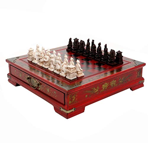 Hinder Tragbares Schach-Set aus Holz, Krieger-Figur, Schach, antikes Brett,...