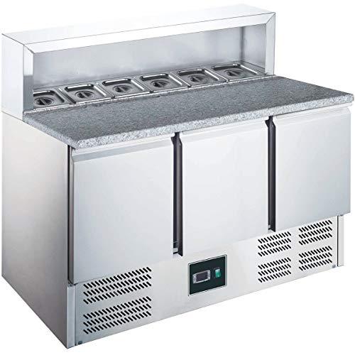 ZORRO - Pizzatisch ZPS903 - 3 Türen - Kühltisch mit Granitplatte - Salatkühlung - Gastro Belegstation
