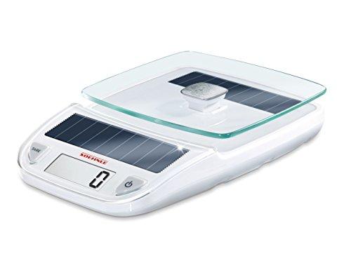 Soehnle Easy Solar white, digitale Küchenwaage, elektrische Waage mit hoher Tragkraft bis zu 5 kg, Haushaltswaage mit Solartechnologie, Glas-Küchenwaage für grammgenaues Wiegen, weiß