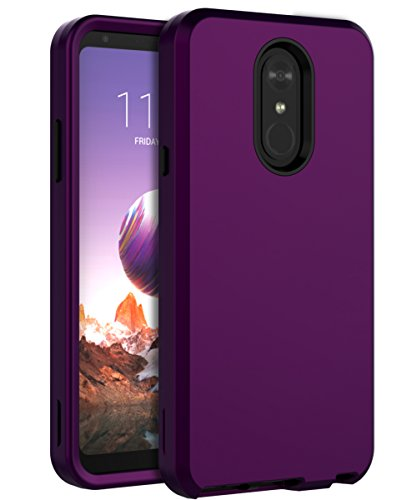 LG Stylo 4 Case,LG Q Stylus Case,LG Stylus 4 Case,LG Stylo 4 Phone Case,SKYLMW Heavy Duty Three Layer Hybrid Sturdy Shockproof Armor High Impact Resistant Protective Cover for LG Stylo 4,Purple/Black
