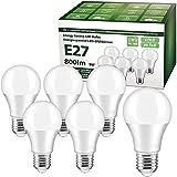 Ampoule LED E27, YLS 9W 800 lumens Ampoule LED E27, remplacement 60W halogène, blanc froid (6000K), ampoules A60, 6 pièces