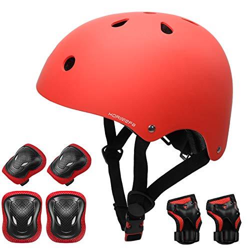 KORIMEFA Casco Infantil Equipo de Protección Patinete con Casco Adjustable certificación CE Rodilleras Coderas para Bicicleta Monopatín y Deportes Extremoscon de 3 a 13 años (m, Rojo)