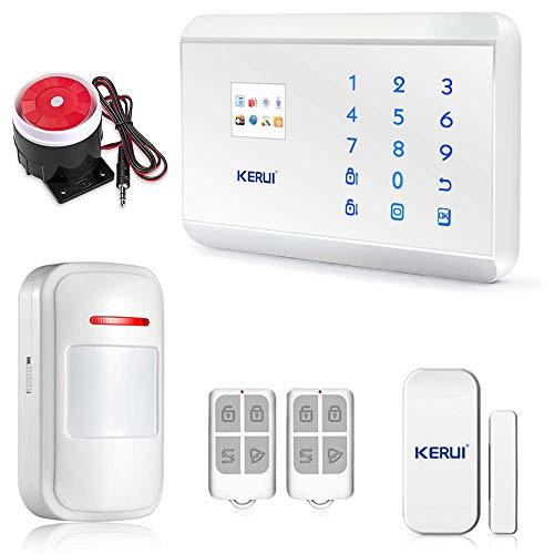 KERUI - Kit Antirrobo de Casa y Oficina 8218G, Alarma Inalámbrica con Teclado Telefónico GSM PSTN/RTC, Sistema de Alarma para el hogar, Caravana y Autocaravana