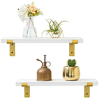 """Mkono Floating Shelves White Farmhouse Decor Set of 2 Wooden Wall Shelf with Gold Metal Lip Brackets for Bathroom Living Room Bedroom Kitchen Office, 17"""" - ✔ Home decor & organizer- Set of 2 wall shelves are the perfect piece for any modern, transitional or luxurious home decor. They allow to better organize spaces and to put all sorts of things on display. They are perfect choice for adding additional shelving space for collectibles, plants, crafts, photos and more. ✔ Built to last - Made from MDF board and metal bracket. Clean streamlined look add character and warmth to any modern or traditional interior. The shelves feature a classic white finish that will match any home décor ✔ Versatile & Functional - Install in the bedroom or bathroom to hold beauty/hair products, place under a mirror in the entryway, or exhibit family photos gallery style in a long hallway — Showcase trophies and accolades near the fireplace, use in the kitchen to hold spices and jars and so on. - wall-shelves, living-room-furniture, living-room - 41fdznGiuPL. SS400  -"""