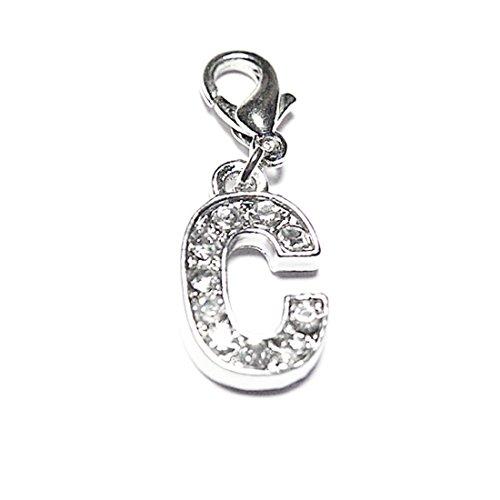 AKKi jewelry Charm Buchstaben Alphabet Anhänger Silber Charms Charmed Club für bettel - Armband Kette Swarovski Kristalle karabina C