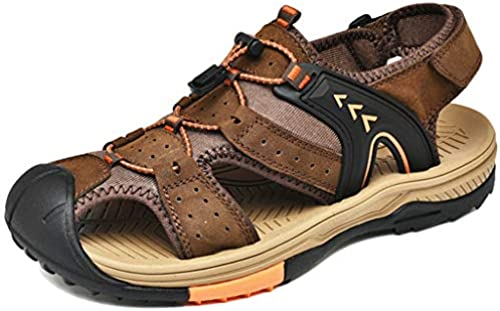 wthfwm Herren Ledersandalen Turnschuhe Verstellbare Velcro Walking Sandalen Closed Toe Sandalen Casual Flats Schuhe