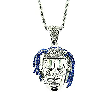 Ouvia Iced Out tentacion Avatar Pendant Necklace Iced Out Chain Hip Hop Full Bling Rapper Punk Rock Clubs Disco Diamond Bling Halloween Cosplay Pennywise Costume boys  jewelry Cuban Link chain for men  Silver