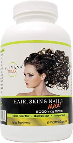 Wellgenix Purvana Max Hair, Skin, and Nails Vitamin Capsules, Double Strength Biotin 5000 MCG, Fo-Ti Root, VIT A & B, Folic Acid, Grape Seed Extract - Herbal Supplement (90 CT) (1 Pack)