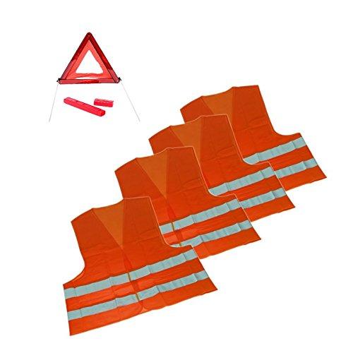 1 x Sicherheits-Set Erste Hilfe Notfallset Urlaub Slowenien 5-TEILIG - 4x Warnweste DIN ISO 20471 Erwachsene; 1x Warndreieck
