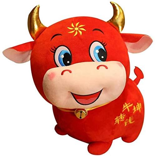Ayrsjcl 1PC Ganado Lindo Peluche de Juguete de simulación del Zodiaco Toro de Dibujos Animados de la Mascota para los niños Relleno Suave Almohada muñeca Regalos de cumpleaños del Amortiguador 22cm