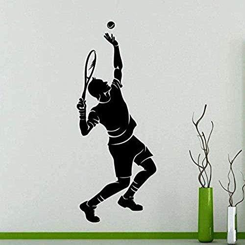 Etiqueta de la pared moda creativa etiqueta de la pared tenis deportes jugador de tenis calcomanía mural familiar 57x135 cm