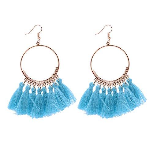 fenical borlas baumeln Pendientes boho Dangle chapado en oro pendientes de aro para las mujeres (Azul)
