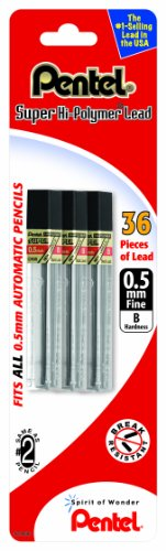 Pentel Super Hi-Polymer Lead Refill 0.5mm Fine, B, 36 Pieces of Lead (C505BP3B-K6)