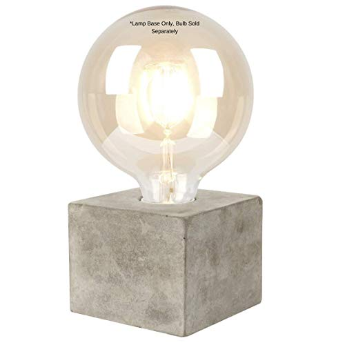 Clas Ohlson Table Lamp for Living Room - Modern Scandi Design, E27 Socket, Lead with in-Line Switch (Cube, Grey)