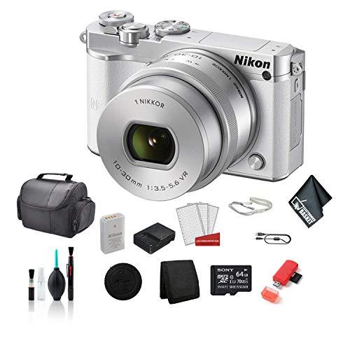 Nikon 1 J5 Mirrorless Digital Camera Kit with 10-30mm Lens (White) Full HD 1080p/60 Video Bundle with 64GB Micro SDXC Memory Card + LCD Screen Protectors + More- International Model