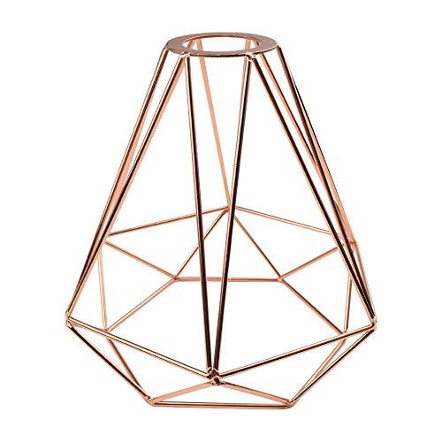 Rose Gold Lampenschirm Metall Diamant Käfig Industrie Licht Schatten DIY Vintage Eisen Lampe Leuchte für Pendelleuchten Wandleuchten
