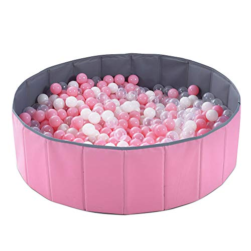 PlayMaty Kids Ball Pit - Folding Portable Baby Play Ball Pool (Balls Not Included) Double Layer Oxford Cloth Not Need to Inflate Stable Ball Pool for Toddler (Pink)