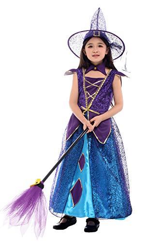 N / A Cosplay Halloween Novedad Regalo Disfraz para nios nias nios Disfraz de Mascarada Navidad Bruja Princesa Vestido Body Height:120-135cm