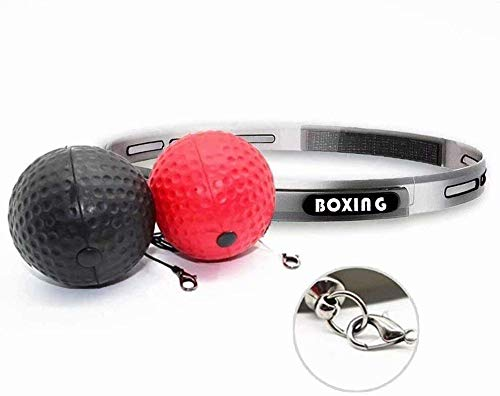OJBKA Boxing Reflex Ball Fight Reflex Ball Set 2 Difficulty Level Boxing Ball with Headband Softer Than Tennis Ball Perfect for Reaction Agility Punching Speed Hand Eye Coordination Boxing