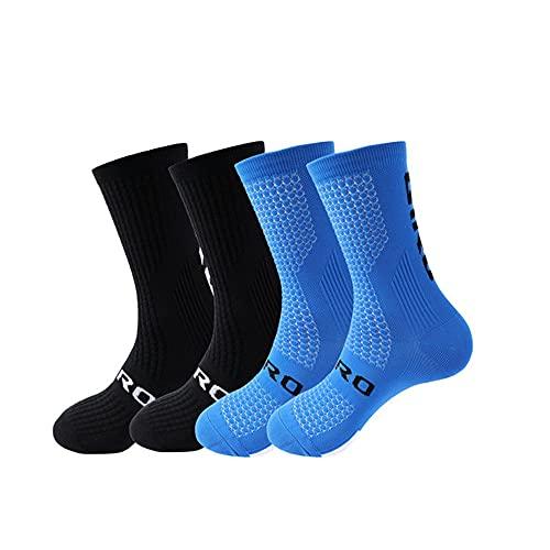 Calzini da ciclismo da uomo 4 paia/set Calzini da ciclismo da donna Sport assorbenti del sudore Calzini a compressione da calcio traspiranti-B13(4 pairs)-Size(38-46)