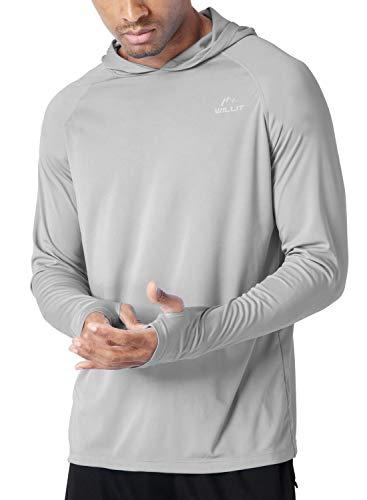 Willit Men's UPF 50+ Sun Protection Hoodie Shirt Long Sleeve SPF Fishing Outdoor UV Shirt Hiking Lightweight Gray S
