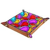 AITAI bandeja de valet de cuero vegano organizador de mesita de almacenamiento de escritorio Catchall coloridos huevos de Pascua