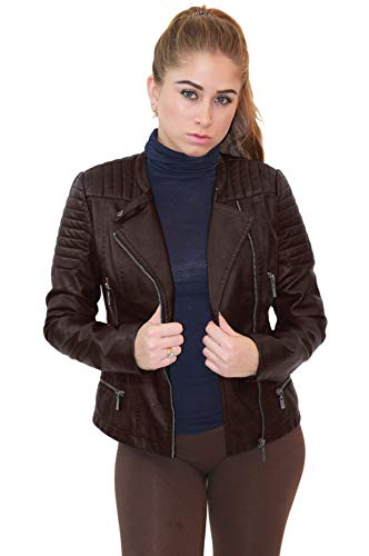 Womens Faux Leather Zip Up Moto Biker Jacket JK5207S BROWN Small