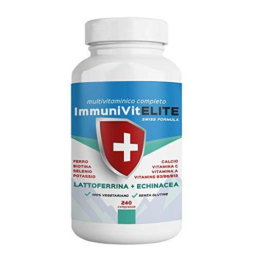 ImmuniVit Multivitaminico COMPLETO 240cpr con Vitamine A,B,C,D,E Minerali, Lattoferrina ed Echinacea