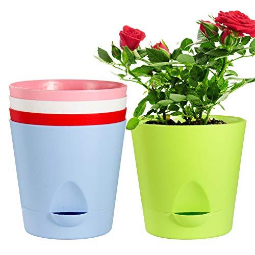 Self Watering Pots,Laerjin 5 Pack 6.7 Inch African Violet Pots