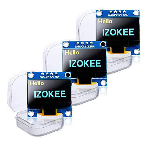 IZOKEE 0,96 Zoll I2C IIC 12864 128X64 Pixel OLED LCD Display Modul SSD1306 Chip 4 Pin für Arduino Display Raspberry Pi 51 Msp420 Stim32 SCR Mikrocontroller (Packung mit 3, Gelb-Blau-IIC)
