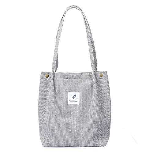 Etercycle Cord Umhängetasche Damen, Schultertasche Groß Cord Tasche Lässige Tote Handtasche Fashion Stofftasche für Alltag, Büro, Schulausflug und Einkauf - Grau