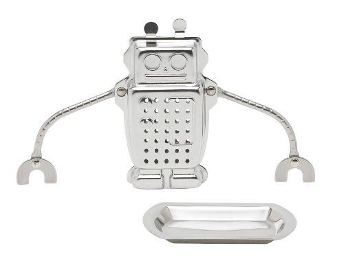 HIC Robot Tea Infuser with Tray, Stainless Steel by HIC Harold Import Co.