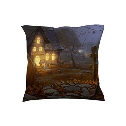 Charzee Halloweenprint vierkant kussen afdekking sierkussen afdekking voor Home Decor 18 * 18inch Multiple Graphics pompoen