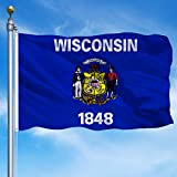 MOFAN Wisconsin State Flag 3 x5  Polyester with Durable Heading and Solid Brass Grommets Indoor/Outdoor Home Garden Decoration 3x5ft