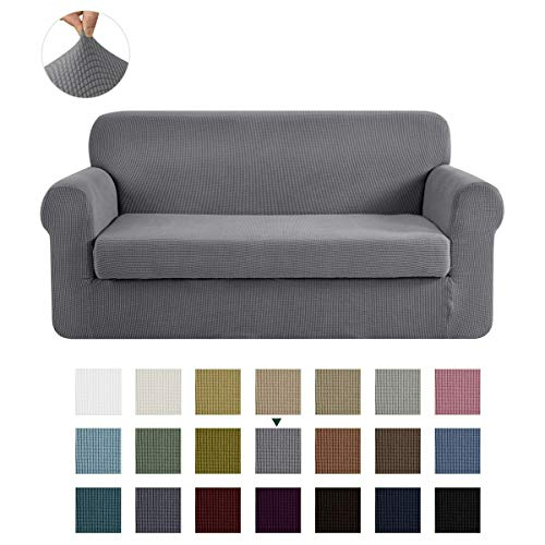CHUN YI Stretch Sofa Slipcover 2-Piece Couch Cover Furniture Protector, Settee Coat Soft with Elastic Bottom, Checks Spandex Jacquard Fabric, Large, Light Gray