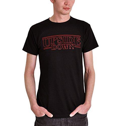 Elbenwald T-Shirt Upside Down für Stranger Things Fans Frontprint für Herren schwarz - XL