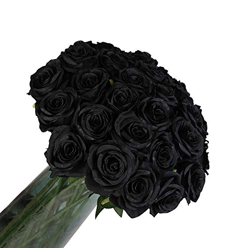 12 PCS Artificial Flowers Roses Silk Flowers Fake Long Stem Artificial Black Roses for Home Party Halloween Decorations