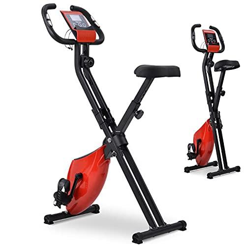 Bicicleta Vertical Plegable de Forma X con 8 Niveles Resistencia Magnética Bicicleta Fija Bicicleta estática con Pantalla LCD medidor de Pulso Peso a rotar de 2.5 kg Máx 120kg
