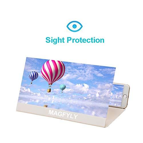 YM09 Praktische 12 inch mobiele telefoon vergrootglas voor ligstoel, grote rechthoek vergrootglas met standaard en lederen behuizing, Desktop & handheld opvouwbare draagbare tulpen, pak voor elke smartphone, Android & IPhone, Kleur: wit
