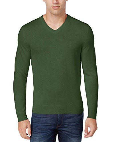 Club Room Mens Wool Blend V-Neck Pullover Sweater Green S
