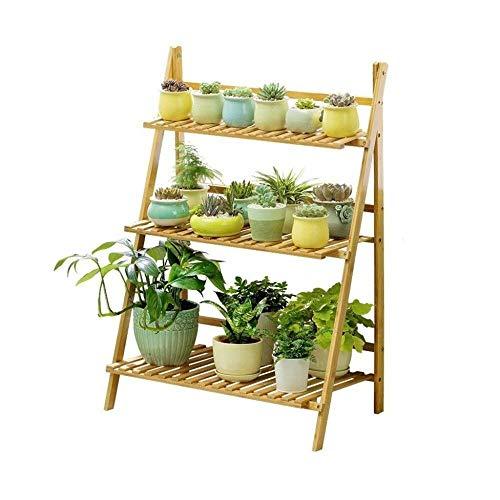 JT - Support de pot de fleurs pliable en bois à 3 étages en bambou - Échelle multifonction (taille : 70 cm)