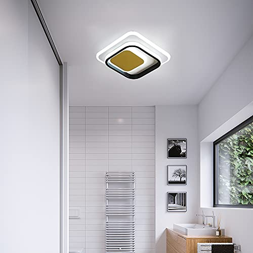 Osairous Plafón de LED, 36W, Lámpara de Techo de Metal Acrílico, 6000K Llluminación Cuadrada Geométrica para Pasillo, Balcón, Dormitorio, Salón, Oficina, Blanco Frío